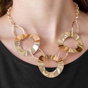 Paparazzi Modern Mechanics Gold Necklace Set